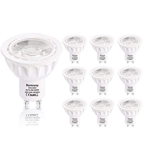 Bombillas LED, GU10 Regulable 6W Equivalente 50W Halógena, 540LM 3000k Blanco Cálido, 35 Degree ángulo, AC 220-240V, Pack de 10