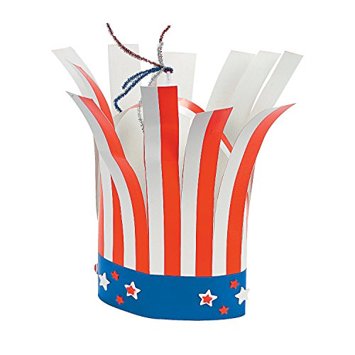 - Fun Express - Patriotic Firecracker Hat Craft for Fourth of July - Craft Kits - Apparel Craft Kits - Hat & Mask - Fourth of July - 12 Pieces