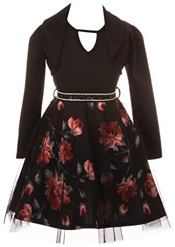 BluNight Collection Big Girls Elegant Sleeveless One Piece Dress Crop Jacket Birthday Party Flower Girl Dress Black 10 ()