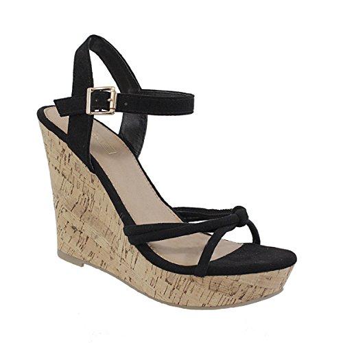 Yoki Women's Buckled Ankle High Knot Strap Cork Platform Open Toe Wedge Suede Colorful Beach Aldyn-25 Sandals (10, Black)