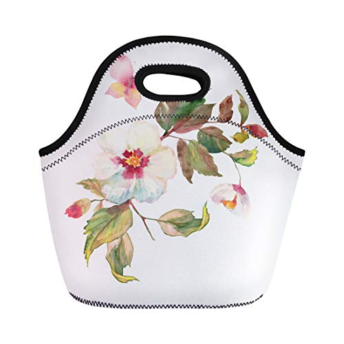 (Semtomn Lunch Tote Bag Beautiful Bouquet of White Roses Hips Flowers Butterfly Floral Reusable Neoprene Insulated Thermal Outdoor Picnic Lunchbox for Men Women)