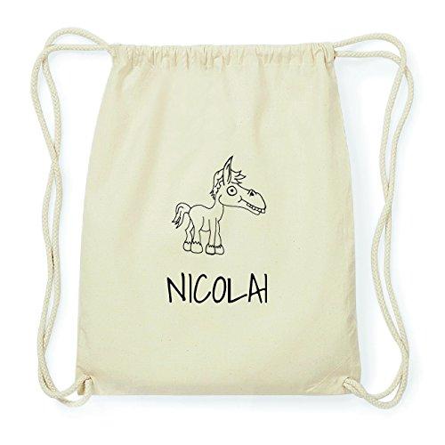 JOllipets NICOLAI Hipster Turnbeutel Tasche Rucksack aus Baumwolle Design: Pferd pD5taIr