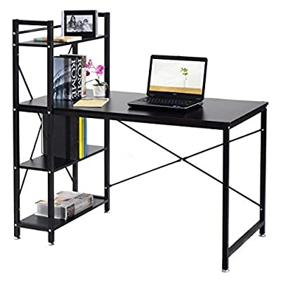 "Tangkula Computer Desk Modern Style Writing Study Table with 4 Tier Bookshelves Home Office Compact Multipurpose Workstation(Black) - 【Spacious Desktop & Ample Storage Shelves】 Our Tangkula computer desk comes with an ample desk surface and an additional three opening shelves. The large full-size workstation provide ample storage to lay your books, papers, documents, laptop on the spacious tabletop. And you can put some books, plants or printer on the 4-tier shelves. It can totally maximize the daily working and reading enjoyment. 【Durable & Sturdy Construction】 The Tangkulawriting desk is constructed by high quality MDF board and iron tube, the iron tube frame offers large weight capacity, the desk can hold about 250lbs. "" X"" style design provides more support and ensures stable and durable. It provides enough durable and skin-friendly work surface and lets you spread out comfortably. 【Compact Practical Style & Multifunction 】 This Tangkula computer desk comes in simplistic color, the color will be suit for any decor. The appearance is compact, simple and practical. The table can be placed in your home study, bedroom and office to serve as a computer desk, office workstation, study stable, writing or gaming desk. - writing-desks, living-room-furniture, living-room - 41o9NdP%2Bz0L. SS400  -"