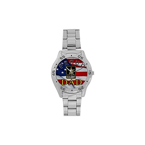 Special Design Military Proud US Army Dad and American Flag Custom Men's Stainless Steel Analog Watch Sliver Metal Case, Tempered -