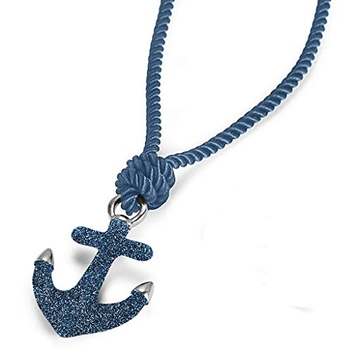 NanoStyle Stainless Steel Anchor Necklace Blue Stardust Nautical Pendant, Blue 23.6