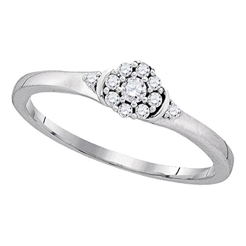 Solid 10k White Gold Right Hand Band Floral Style Round Cluster Set Polished 1/8 ctw (Diamond Flower Right Hand Ring)