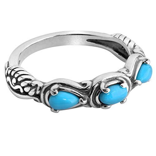 Carolyn Pollack Sterling Blue Turquoise Gemstone 3 Stone Ring Size 8