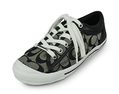 Coach Women's Francesca 12CM Black-White/Black Canvas Sneakers 11 B(M) US Women