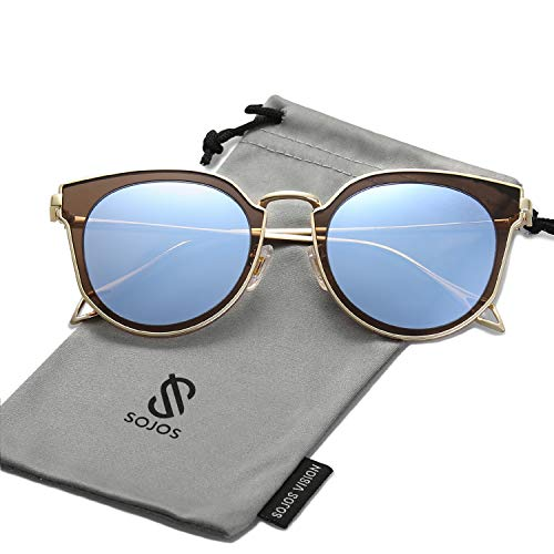 SOJOS Fashion Polarized Sunglasses for Women UV400 Mirrored Lens SJ1057 with Gold Frame/Dusty Blue Polarized ()