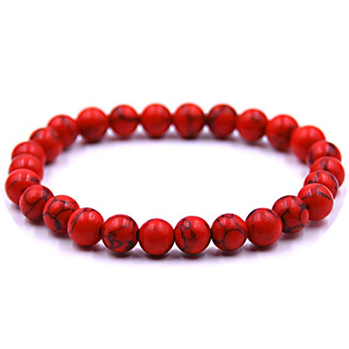 - SL SweetLove Handmade Red Bead Bracelet 8mm Charm Jasper Color Stone Stretch Bracelets for Women Girls