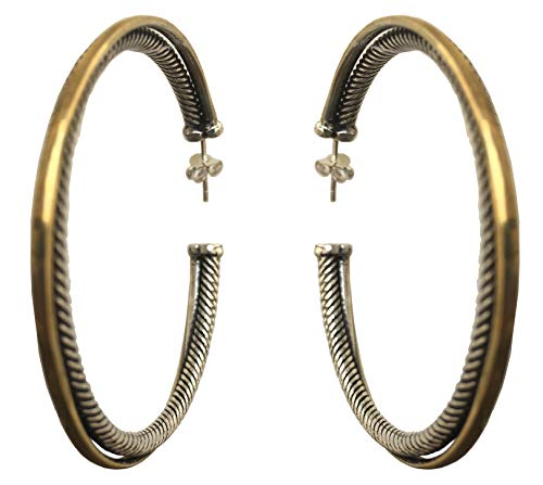 - Designer Inspired 55mm Two Tone 'Crossover' Extra-Large Hoop Earrings