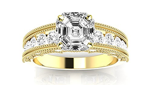 (3.6 Ctw 14K Yellow Gold Antique/Vintage Style Channel Set Round Engagement Ring with Milgrain w/Asscher 3 Carat Forever One Moissanite Center)