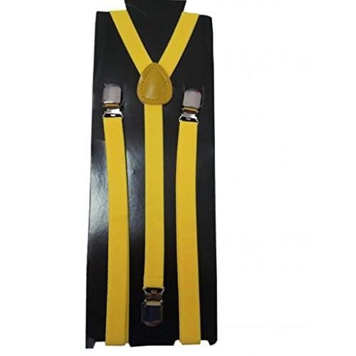 JTC Solid Color Kids Elastic Adjustable Suspenders Braces Yellow hot sale