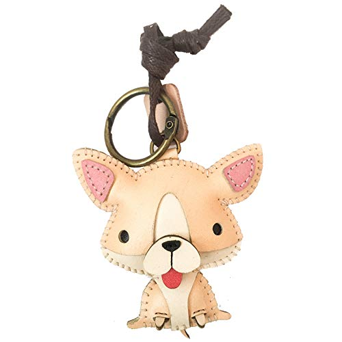 3XU Leather Charm,Unique Bag Charm,Cute Key Chain (Chihuahua-PT063) ()