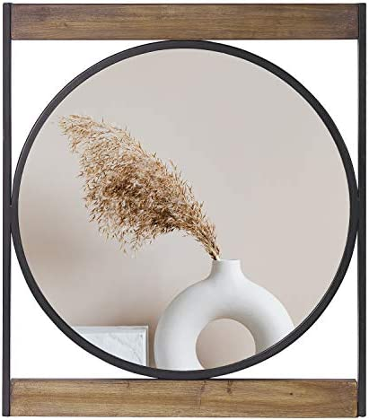 Decorative Mirrors for Wall Decor Round Wall Mirror with Square Metal Wooden Frame for Bedroom Bathroom Living Room Entryway