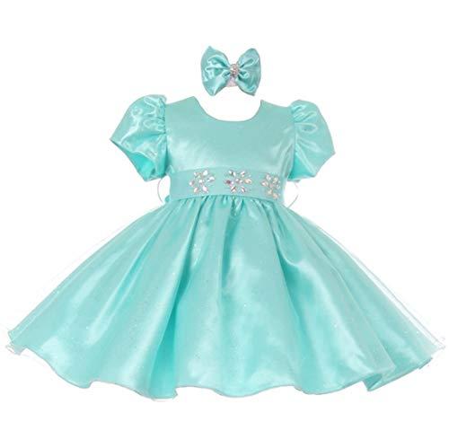 StylesILove Lace Satin Baby Flower Girl Dress (18 Months, Aqua)