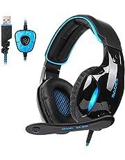 SADES SA902 Gaming Headset Auriculares de Juego USB 7.1 Sonido estéreo Virtual de Sonido Envolvente Auriculares luz LED con Control de Volumen de micrófono para PC/portátil (Negro y Azul)
