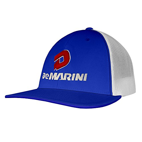 Trucker Style Hat - DeMarini Stacked D Flexfit Pacific Headwear Trucker Hat (SM/MED, Royal/White)