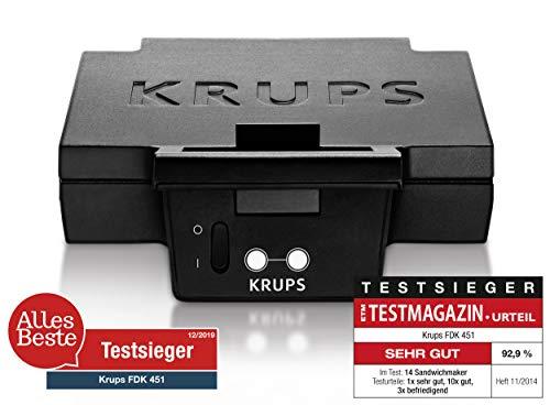 Krups Sandwichmaker FDK451 | für gegrillte Sandwichtoasts in Dreiecksform | Antihaftbeschichtete Platten (Leichte Reinigung, Kein Anbrennen) | Aufheiz- und Temperaturkontrollleuchte | 850W 5