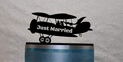 Biplane Cake Topper with Bride and Groom, Flying High, Just Married, Your Name or Phrase