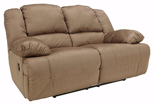 Ashley Furniture Signature Design - Hogan Reclining Loveseat - Pull Tab Recliner - Mocha