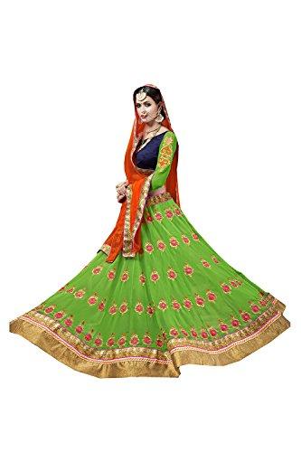 PCC Womens Green Georgette Fabric Pretty Unstitched Lehenga Choli 80046
