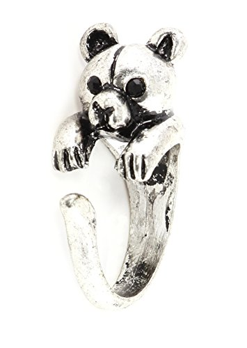 Magic Metal Teddy Bear Wrap Antique Ring Silver Tone RL71 Stuffed Animal Fashion Jewelry