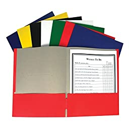 C-Line Recycled Two-Pocket Paper Portfolio, 1 Case of 100 Folders, Assorted Colors (05300)