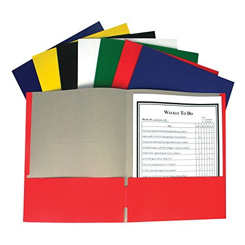 C-Line Recycled Two-Pocket Paper Portfolio, 1 Case of 100 Folders, Assorted Colors (05300-100) ()