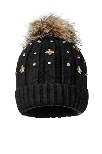 Gem Top Hat - Nothing But Love Women Knit Cap Sparkly Gems Furry Pom Pom Beanie Knitted Hat Warm Winter Knitwear (Black)