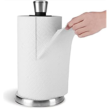 Paper Towel Holder by Royal - Easy Tear with One Hand - Stainless Steel with Weighted Base