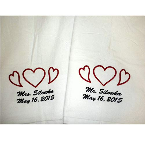 (Tri Color Set of Marriage Embroidered Beach Towels Wedding Bridal Gifts for)