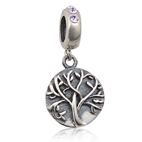 - Tree of Life Charm 925 Sterling Silver Family Charm Love Pendant for Bracelet (Purple)