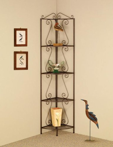 4 tier goldish copper finish metal corner wall shelf unit