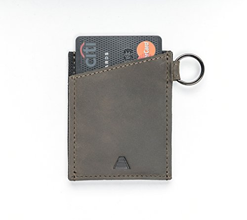 Andar Minimalist Slim Wallet Made of Premium Leather and Elastic with Keychain - The Leo (Olive Gray)