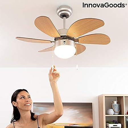 InnovaGoods Ventilatore da soffitto con luce /Ø 75 cm 55 W