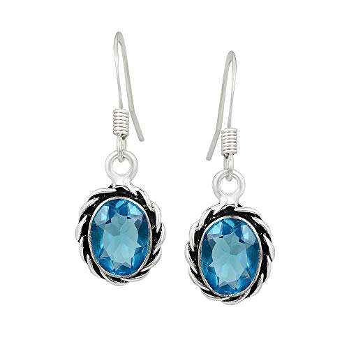 Oval Shape Simulated Blue Topaz Dangle Earrings 925 Silver Plated Handmade Fashion Jewelry For Women Girls