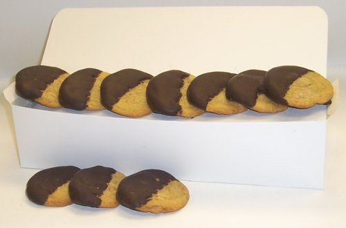 Scott's Cakes Half-Dipped Peanut Butter Cookies with Dark Chocolate in a White Gourmet Box Dipped Peanut Butter Cookies