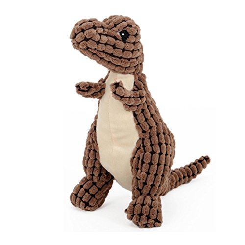 Stock Show 1Pc Pet Squeak Toy, Plush Dinosaur Shape Teeth Clean Stuffed Biting Playtoy for Small Medium Dog/Puppy/Pup, Light Brown by Stock Show (Image #1)