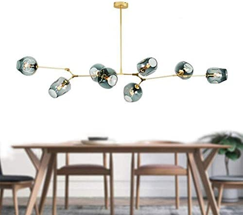 Modern Molecular Chandelier, E26 Nordic Bubble Ball Rotating Ceiling Light with Glass Lampshade, Pendent Lighting Rod Fixtures for Living Dining Room Bedroom Bar Gold, 8 Lights