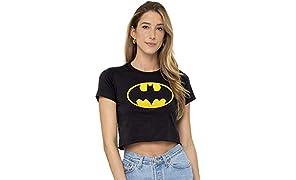 Batman Classic Logo Juniors Teen Girls Crop Top T Shirt & Stickers