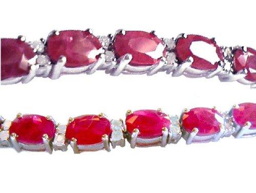 18,65carats Rubis et Diamant Bracelet en or blanc 14K