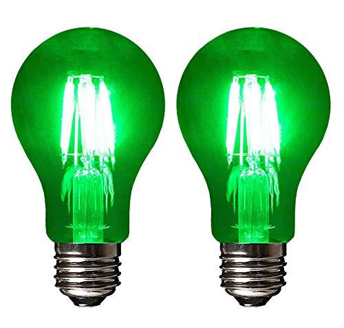 SleekLighting LED 4Watt Filament A19 Green Colored Light Bulbs Dimmable - UL Listed, E26 Base Lightbulb - Energy Saving - Lasts for 25000 Hours - Heavy Duty Glass - 2 Pack