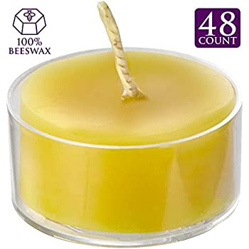 ELITE SELECTION Clear Cup Yellow Tea Light Candles - Pure Refined Bees Wax for Smokeless Burning - 4.5 Hour Long Burning Tealight Votive Candles - Bulk Candles Pack of 48 for Holiday, Home Decoration
