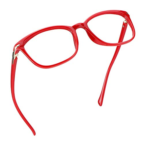 LifeArt Blue Light Blocking Glasses, Anti Eyestrain, Computer Reading Glasses, Gaming Glasses, TV Glasses for Women, Anti Glare (Bright Red, 2.00 Magnification)