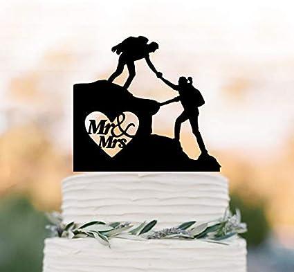 Decoración para tarta de boda para senderismo, novia y novio ...