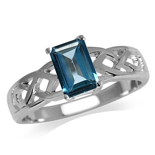 - 1.22ct. Genuine London Blue Topaz 925 Sterling Silver Celtic Knot Solitaire Ring Size 10