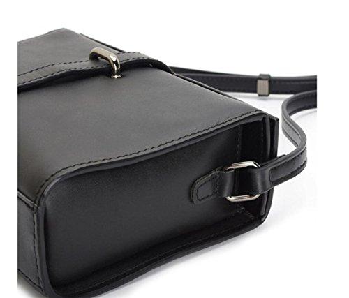 GSHGA Bolsos Para Mujer Bolsos De Cuero Negro Diagonal Bolso Cuadrado Pequeño Paquete De Estilo Retro,Black Black