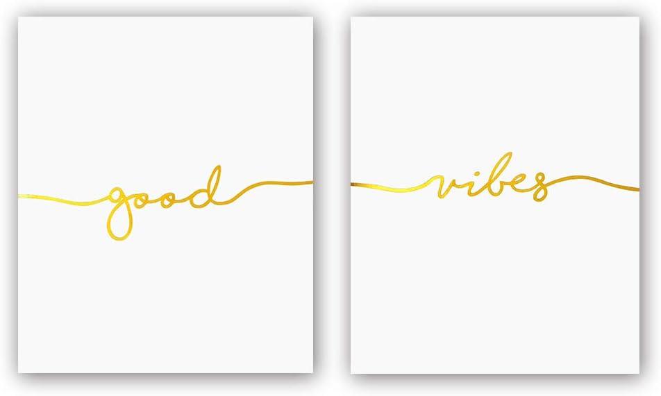 Good —Vibes Gold Foil Print, Yoga Studio Living Room Inspirational Quote Cardstock Art Print Poster Motivational Home Decor Artwork Minimal Wall Art (8 X 10 inch, Set of 2, UNframed)