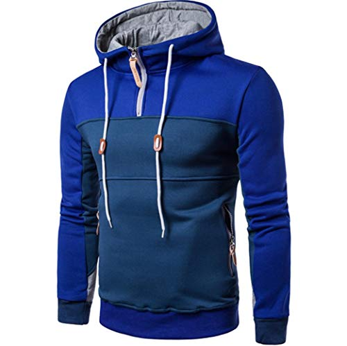 Muranba Clearance Men Patchwork Pullover Coat Hooded Outwear